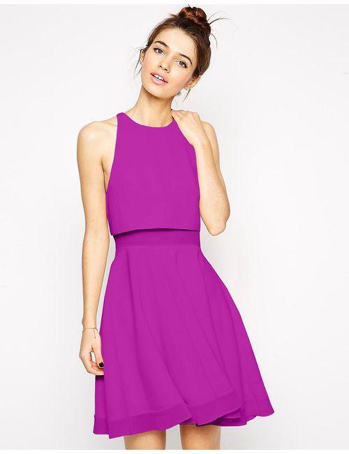 Asos | Женское Короткое Приталенное Платье С Плотными И Прозрачными