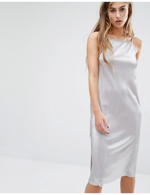 Miss Selfridge | Женское Платье Миди Цвета Металлик На Бретельках Серебряный