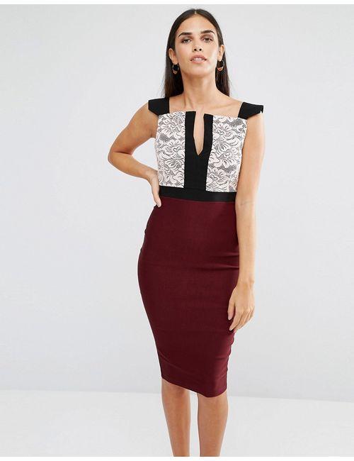 Vesper | Женское Платье-Футляр С Кружевом На Лифе И Разрезом