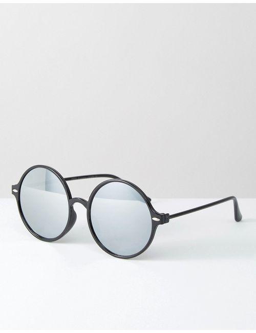7X | Круглые Солнцезащитные Очки С Зеркальными Линзами Черный