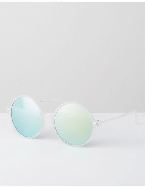 7X | Круглые Солнцезащитные Очки С Зелеными Стеклами Прозрачный