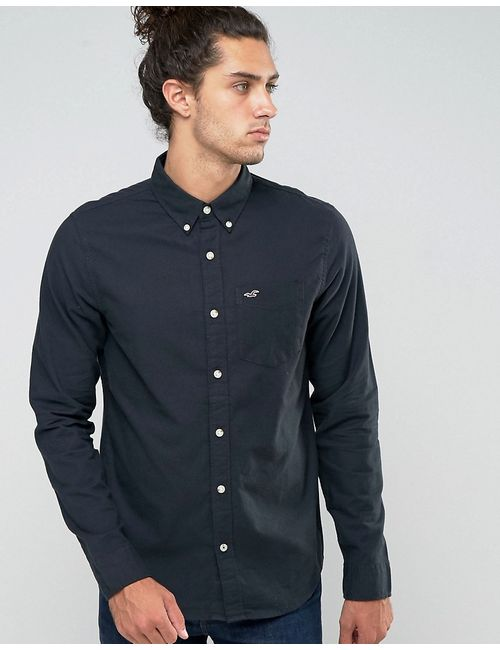 Hollister | Мужская Черная Оксфордская Рубашка Узкого Кроя С Логотипом