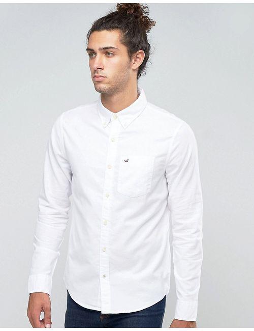 Hollister | Мужская Белая Оксфордская Рубашка Классического Кроя С Логотипом