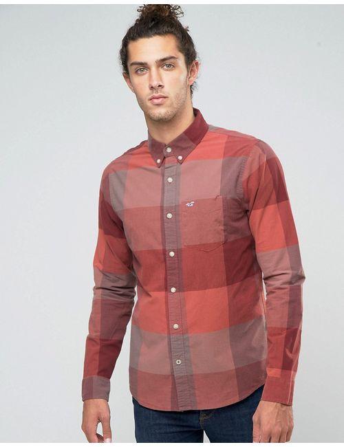 Hollister   Мужская Бордовая Рубашка Узкого Кроя Из Поплина В