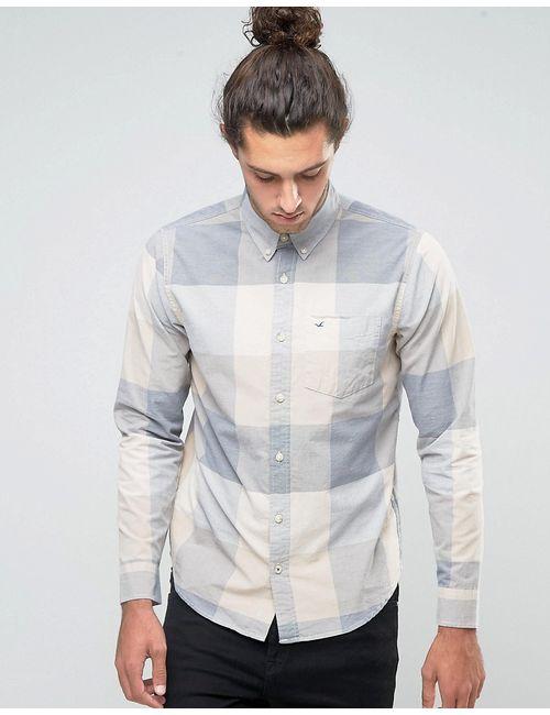 Hollister | Мужская Серая Рубашка Узкого Кроя Из Поплина В