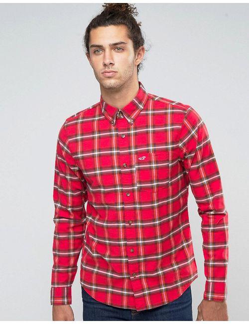 Hollister   Мужская Оксфордская Рубашка Слим В Красную Клетку Тартан