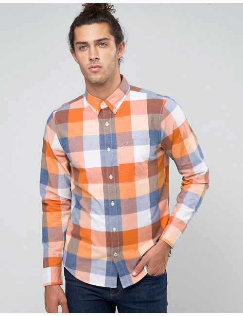 Hollister | Мужская Стретчевая Оксфордская Рубашка В Синеоранжевую Клетку С