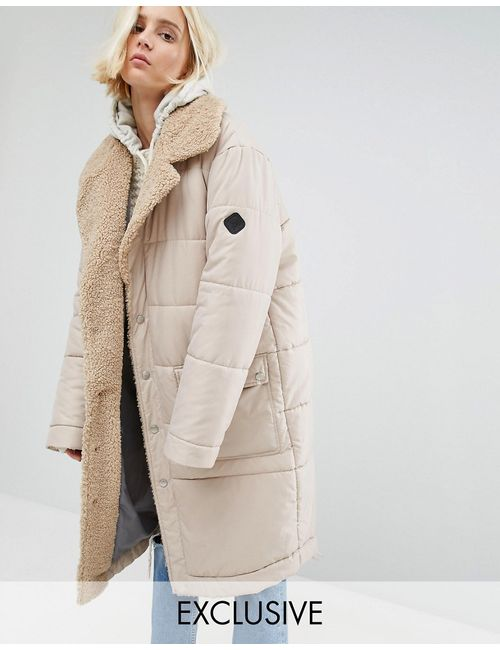 Puffa | Oversized Maxi Bomber Jacket With Faux Shearling