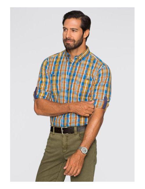 bonprix | Мужская Хаки Клетчая Рубашка Regular Fit С Длинным Рукавом
