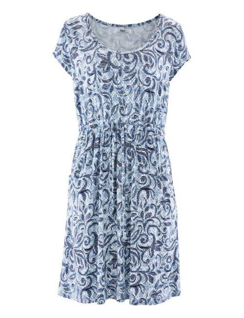 bonprix | Женское Абрикосовый, Нежный Яркое-Розовое Трикотажное Платье С Коротким Рукавом