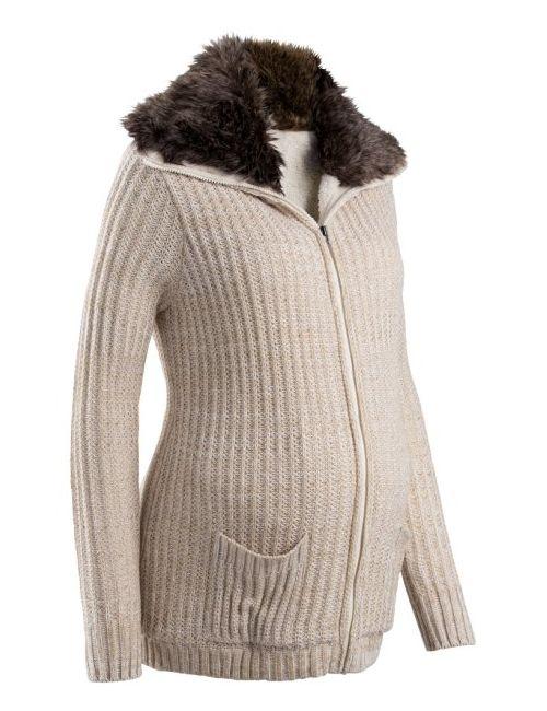 bonprix   Женская Антрацитовый Меланж Мода Для Беременных Кардиган С Искусственным Мехом
