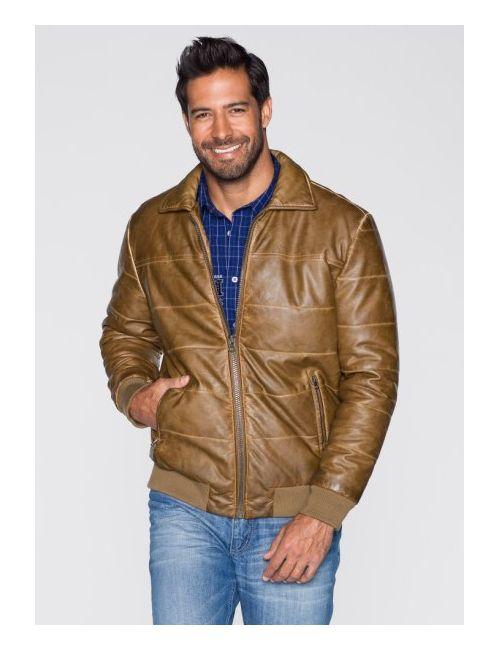 bonprix | Мужская Коньячная Куртка Regular Fit Из Искусственной Кожи