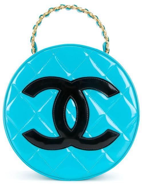 Chanel Vintage | Женское Синий Quilted Round Vanity Case