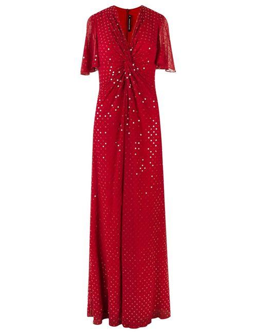 Reinaldo Lourenço | Женское Красный V-Neck Long Dress 38 Silk