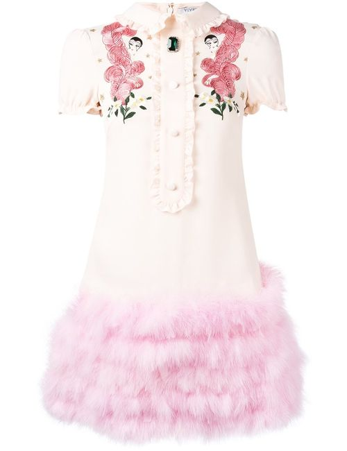 Vivetta | Женское Розовый Embroidered T-Shirt Dress 36 Viscose/Turkey Feather