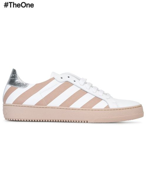 OFF-WHITE | Белый Diagonal Stripe Sneakers 36 Leather/Rubber