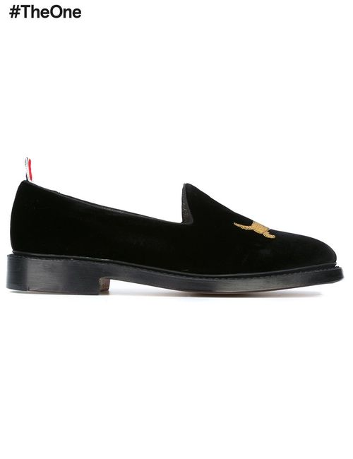 Thom Browne | Черный Embroidered Dog Slippers 10 Leather/Rayon
