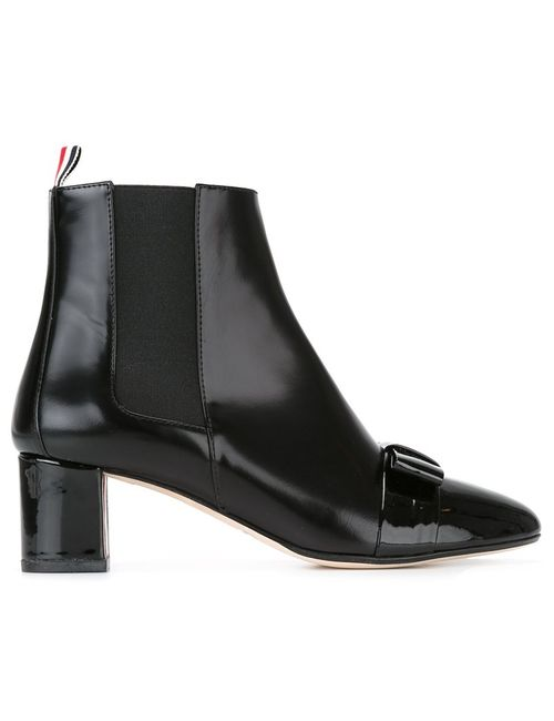 Thom Browne | Женское Чёрный Lace Detailing Ankle Boots 38 Leather/Patent