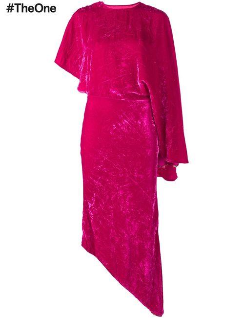 A.W.A.K.E | Женское Розовый Asymmetric Velvet Dress 34 Viscose