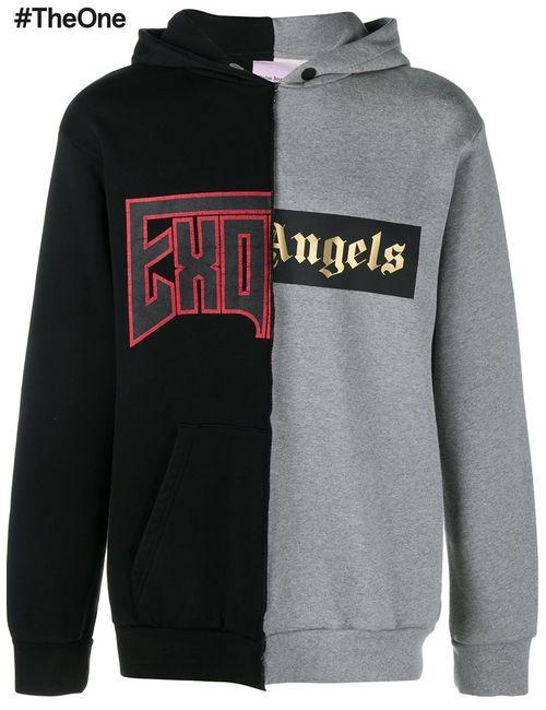 PALM ANGELS | Чёрный Split Effect Hoodie Mens Size Xl Cotton