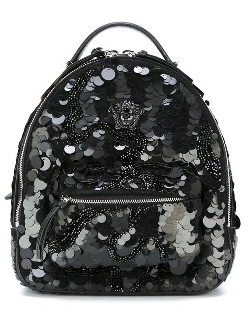Versace | Черный Small Palazzo Medusa Sequined Backpack