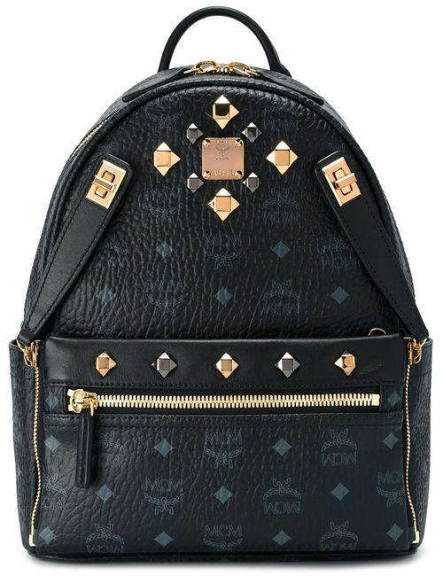 MCM | Женское Чёрный Logo Print Studded Backpack