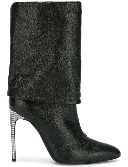 Pollini | Чёрный High Heel Fold Over Boots 37 Leather