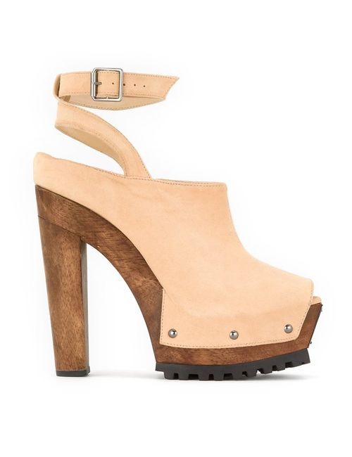 Andrea Bogosian | Nude/Neutrals Ankle Strap Mules 35 Chamois Leather