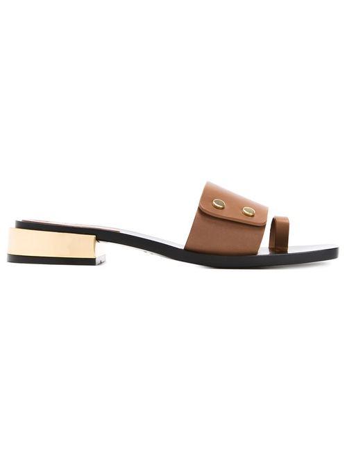 SCANLAN THEODORE | Коричневый Square Toe Sandals 39 Calf Leather