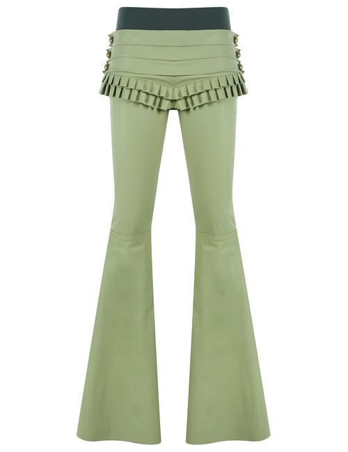 Andrea Bogosian   Зелёный Leather Flared Trousers P Leather