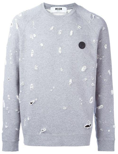 MSGM | Серый Frayed Sweatshirt Medium Cotton/Viscose