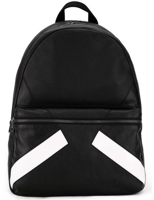 Neil Barrett | Черный Stripe Print Backpack Leather/Polyester