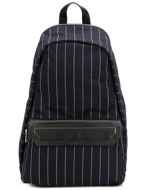 JUUN.J | Мужское Синий Pinstriped Zip Up Backpack Cotton/Calf Leather/Wool