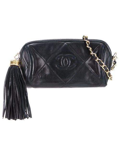 Chanel Vintage   Черный Fringe Chain Pouch
