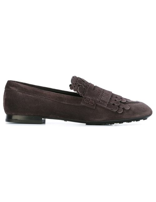 Tod'S | Коричневый Round Fringe Loafers 36 Leather/Suede/Rubber