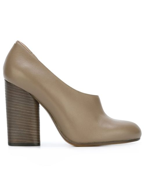 Maison Margiela | Серый Chunky Heel Pumps 38.5 Calf Leather/Leather