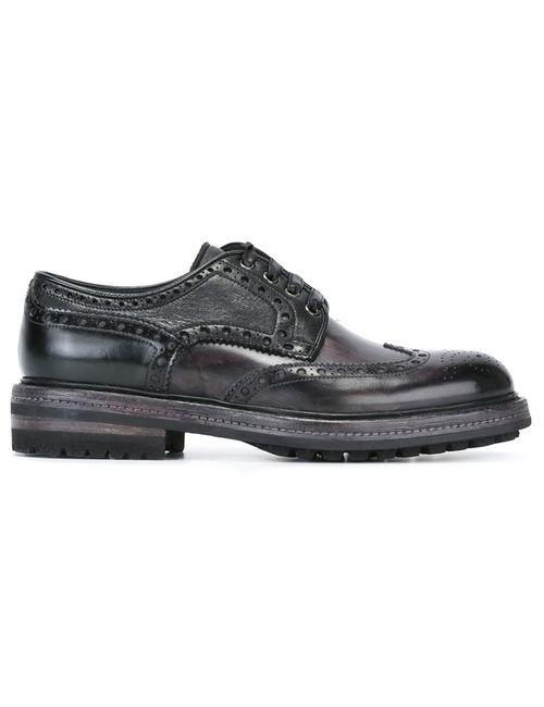 Santoni | Черный Wingtip Brogues 9.5 Leather/Rubber