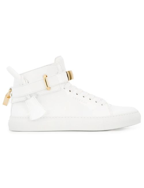 Buscemi | Женское Белый Lock Detail Hi-Top Sneakers 9 Leather/Patent Leather/Rubber