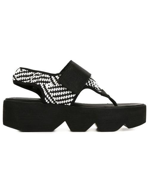 Vic Matie' | Белый Vic Matie Flatform Sandals 39 Leather/Polyamide/Rubber