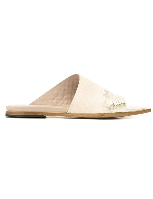 Vic Matie' | Nude/Neutrals Vic Matie Slider Sandals 38 Calf Leather/Leather
