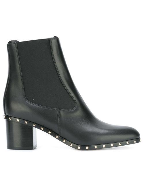 Valentino | Черный Micro Rockstud Ankle Boots 37.5 Leather/Metal