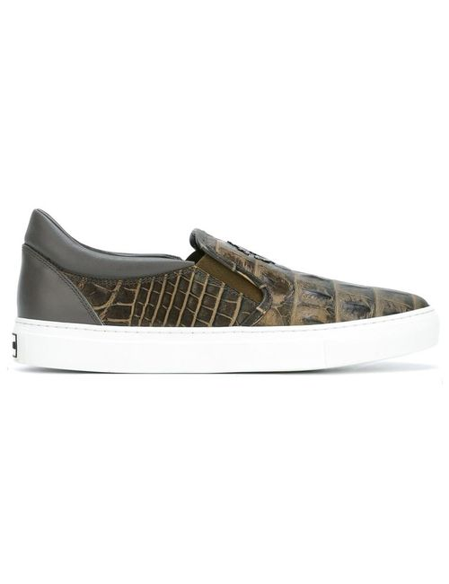 Roberto Cavalli | Зелёный Kimbo Monogram Loafer Sneakers 40 Leather/Rubber