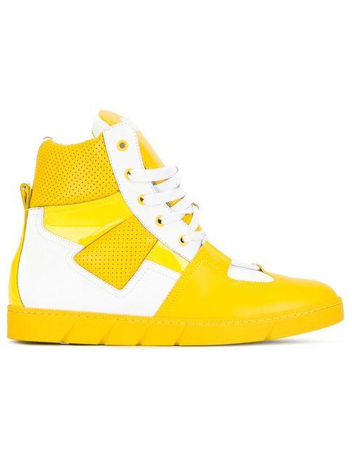 Loewe | Желтый Panelled Hi-Top Sneakers 44 Leather/Rubber