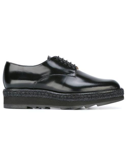 Castañer | Чёрный Platform Lace-Up Shoes 38 Leather/Rubber