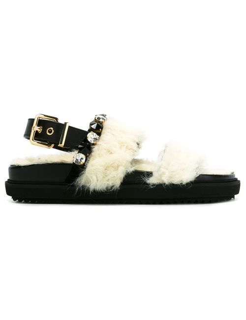 EMANUELA CARUSO | Nude/Neutrals Ungaro Sandals 37 Leather/Sheep Skin/Shearling/Crystal/Rubber