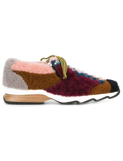 Fendi | Shearling Sneakers 38 Leather/Lamb Fur/Rubber
