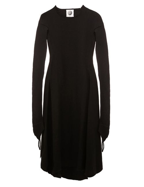 AGANOVICH | Женское Чёрный Raw Edge Flared Dress 40 Polyamide/Cashmere/Wool