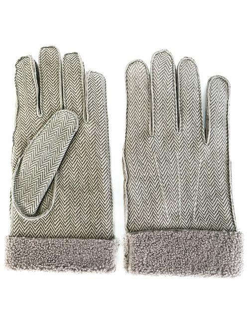 Canali | Серый Herringbone Gloves Medium Leather