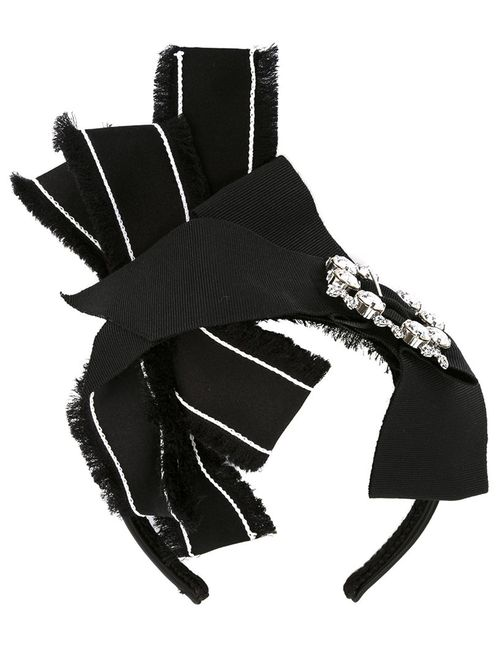 Dolce & Gabbana | Чёрный Crystal Buckle Bow Hairband Silk/Polyester/Metal Other/Glass