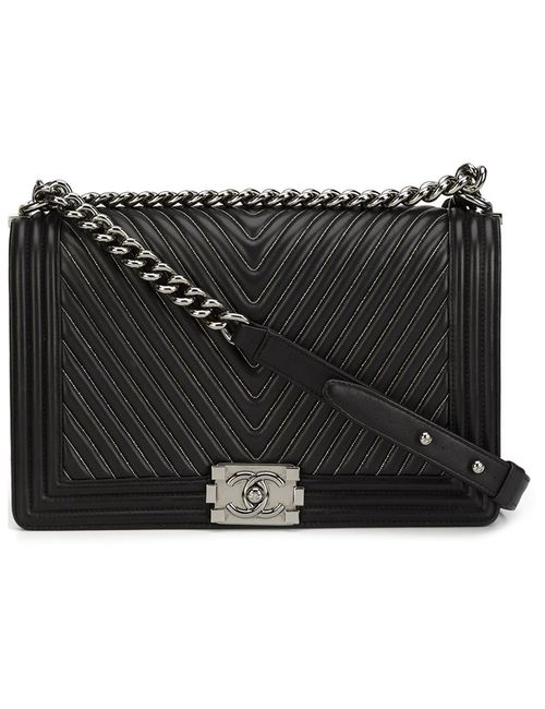 Chanel Vintage | Женское Чёрный Medium Quilted Chevron Shoulder Bag